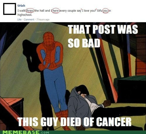 cancer,spelling,Spider-Man