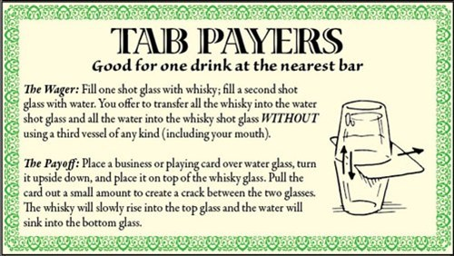 making friends,tab payers,shot glasses