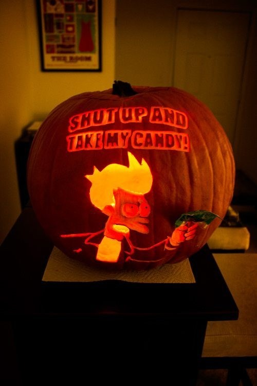 funny TV animation futurama fry holiday halloween hallowmeme ghoulish geeks jack o lanterns g rated cartoons - 6702273792
