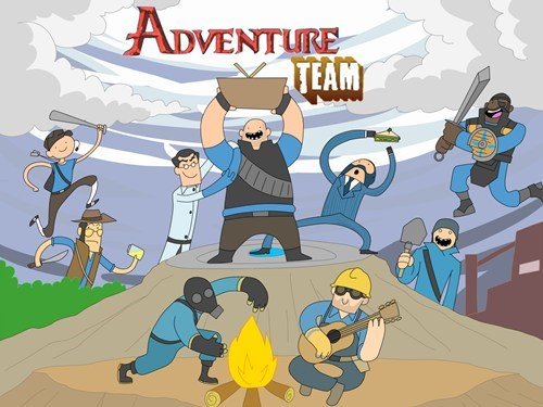 adventure time,crossover,hats,art,Team Fortress 2