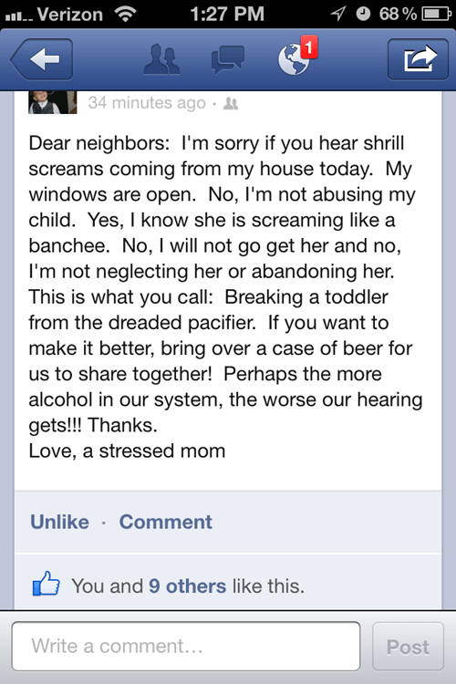 facebook pacifier neighbors