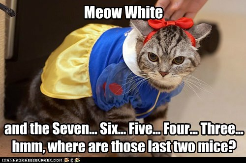 Meow White and the Seven... Six... Five... Four... Three... hmm, where are those last two mice?