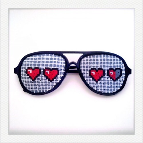 hand painted,sunglasses,retro,8 bit