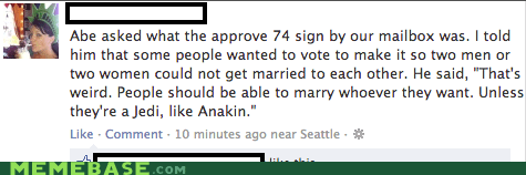 star wars,ref 74,gay marriage,facebook,anakin,Jedi