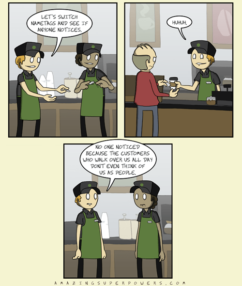 nametags amazing superpowers Starbucks employees comic - 6702593280