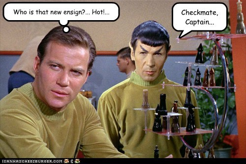 Captain Kirk,distraction,checkmate,hot,Spock,ensign,Leonard Nimoy,chess,Star Trek,William Shatner,Shatnerday