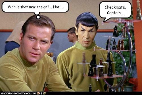 Captain Kirk distraction hot Spock ensign Leonard Nimoy chess Star Trek William Shatner Shatnerday - 6702716928
