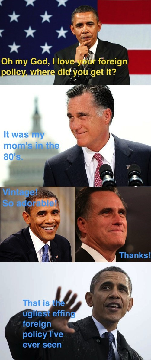 barack obama,Mitt Romney,foreign policy,debate,mean girls,two faced