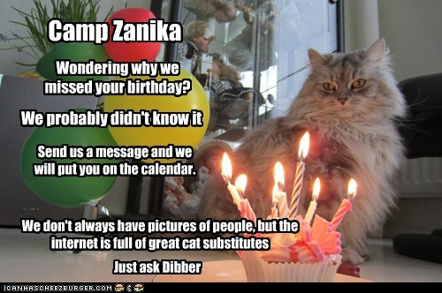 Camp Zanika Wondering why we missed your birthday? We probably didn't know it Send us a message and we will put you on the calendar. We don't always have pictures of people, but the internet is full of great cat substitutes Just ask Dibber