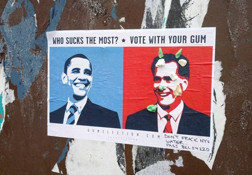 politics Street Art voting vote election 2012 hacked irl Mitt Romney barack obama best of week Hall of Fame - 6705030400