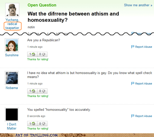 yahoo answers atheism homosexuality funny - 6705406976