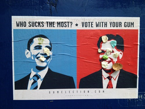 barack obama,street,new york city,Mitt Romney,vote,gum