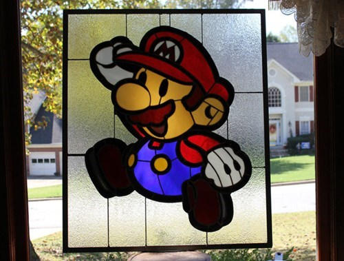 stained glass,nerdgasm,paper mario,Super Mario bros,mario,nintendo