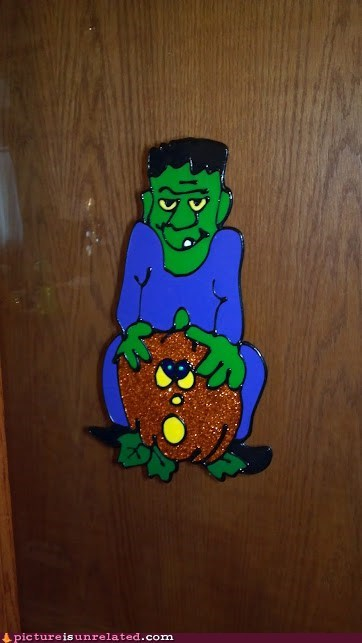 halloween frankenstein butt secks decoration jack-olantern