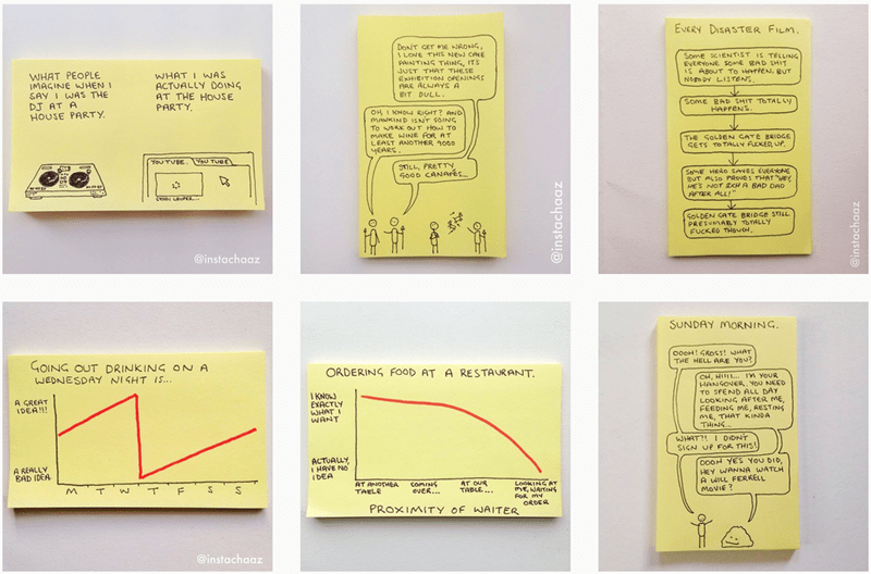 post it art list millennials instagram social media problems graphs