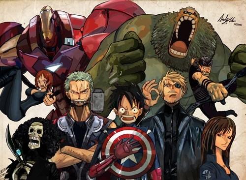 crossover Fan Art one piece avengers