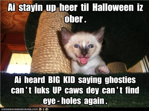 Ai stayin up heer til Halloween iz ober . Ai heard BIG KID saying ghosties can ' t luks UP caws dey can ' t find eye - holes again .