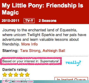 my little pony,Supernatural,netflix