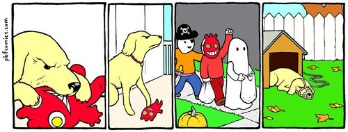 comic,dogs,halloween,trick or treat