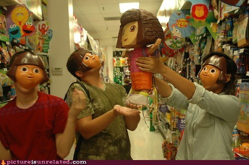 pinata,toys,creepy,mask,sacrifice,dora the explorer