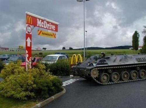 drive thru,McDonald's,tank,mcraoul,tank going thru the drive-thru