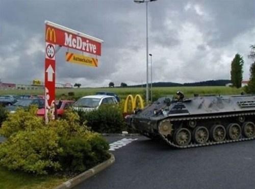 drive thru McDonald's tank mcraoul tank going thru the drive-thru