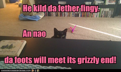 He kild da fether fingy. An nao da foots will meet its grizzly end!