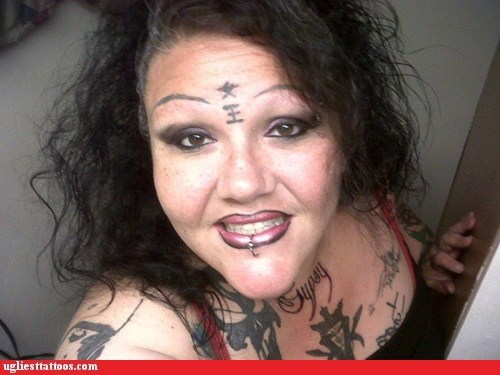Permanently surprised, if her eyebrows grow back, she would have 4 haha