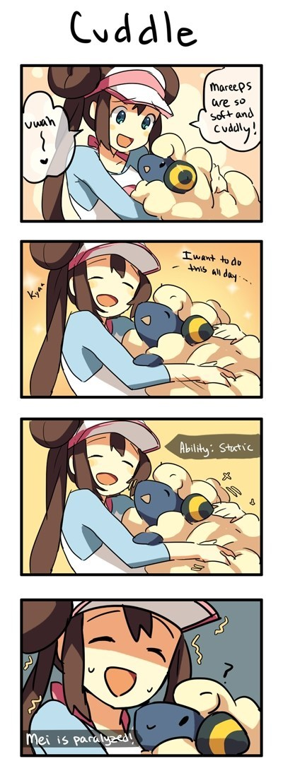 mareep,cuddle,paralyzed