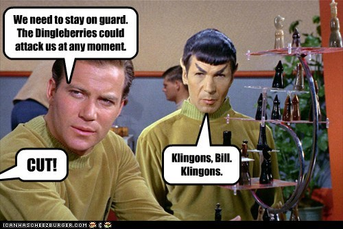 dingleberry,Captain Kirk,klingons,Spock,confused,Leonard Nimoy,Star Trek,William Shatner,cut,Shatnerday