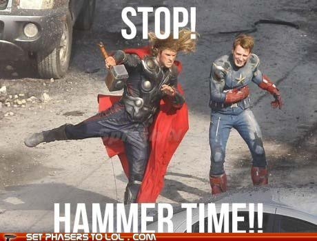 dancing,Thor,hammertime,swag,The Avengers,steve rogers,captain america,chris evans,stop,chris hemsworth
