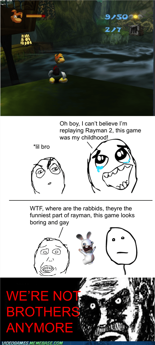Sad,childhood,rage comic,rayman,rabbids