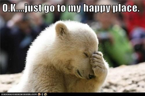 stressed happy place polar bear facepalm zoo - 6711984640