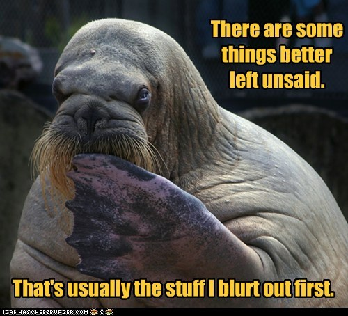first,blurt,idiom,oops,walrus,unsaid