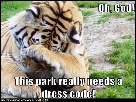 dress code,gross,park,tiger,cover your eyes,oh god