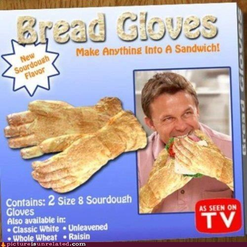 gloves,as seen,hands,sandwich,bread