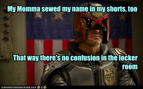 karl urban shorts uniform dredd mom judge dredd name
