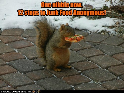 One nibble now. 12 steps to Junk Food Anonymous!
