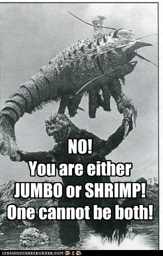 oxymoron,godzilla,prawn,fighting,angry,jumbo shrimp