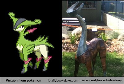 Virizion from pokemon Totally Looks Like random sculpture outside winery