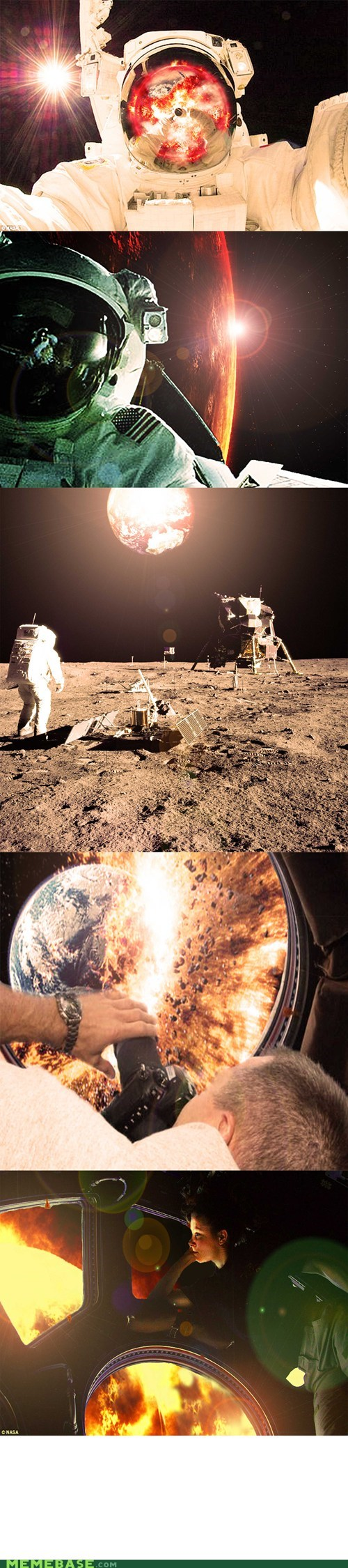 world burn photoshop astronaut space - 6716624896