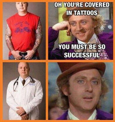 willy wonka meme,covering tattoos,doctor