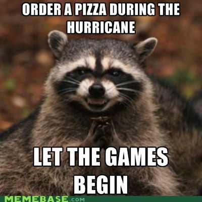 pizza,raccoon,evil,hurricane sandy