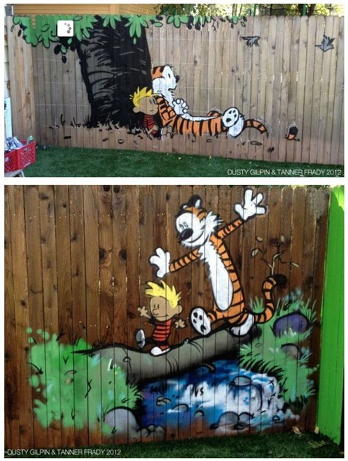 backyard murals,calvin and hobbes