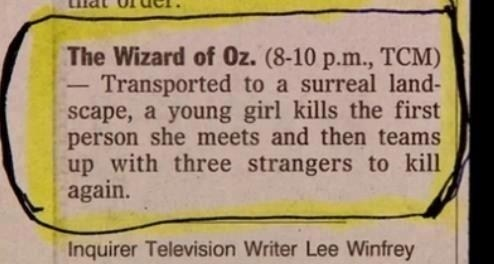 wizard of oz synopsis technically correct description literally
