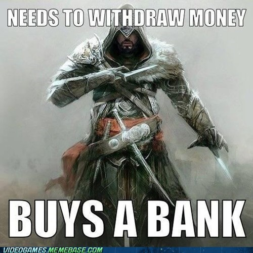 bank,assassins creed,video game logic