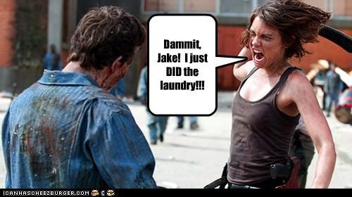 laundry Jake walker Blood dammit Lauren Cohan zombie Maggie Greene dirty The Walking Dead - 6717788672