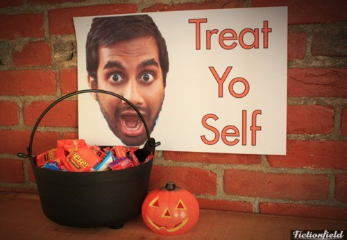 parks and recreation,halloween,aziz ansari,treat yo self,hallowmeme,g rated