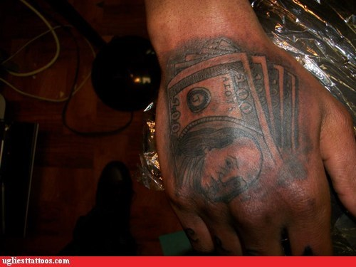 hand tattoos,money