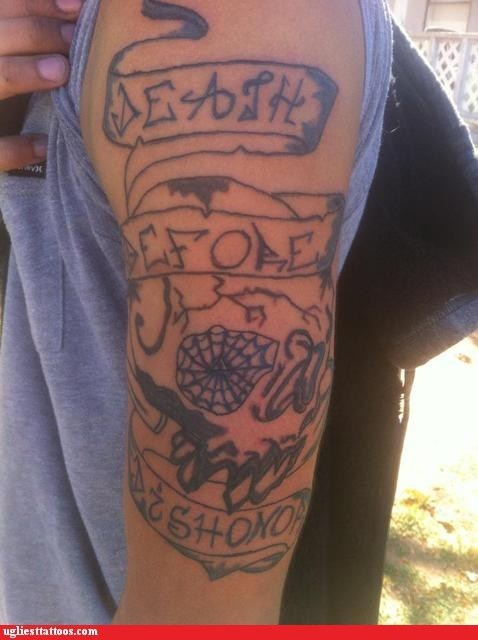 arm tattoos,death before dishonor,g rated,Ugliest Tattoos